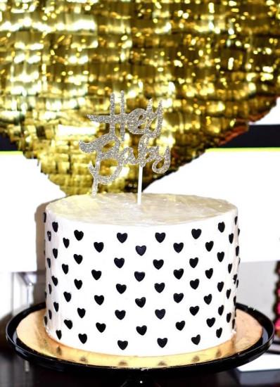 gold Glam Baby Shower cake decor