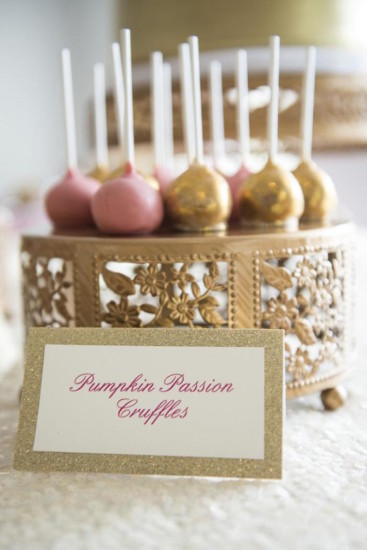 gold and pink cakepop idea