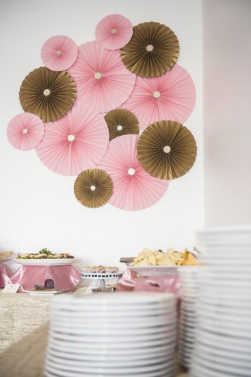 pink and gold backdrop decoration, paper flowers