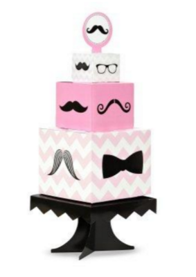 pink mustache baby shower centerpiece