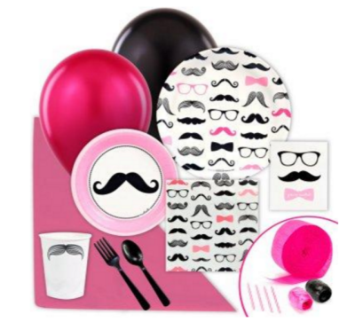 pink mustache table ware for baby shower tableset