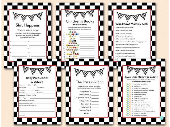 racing car baby shower game templates download