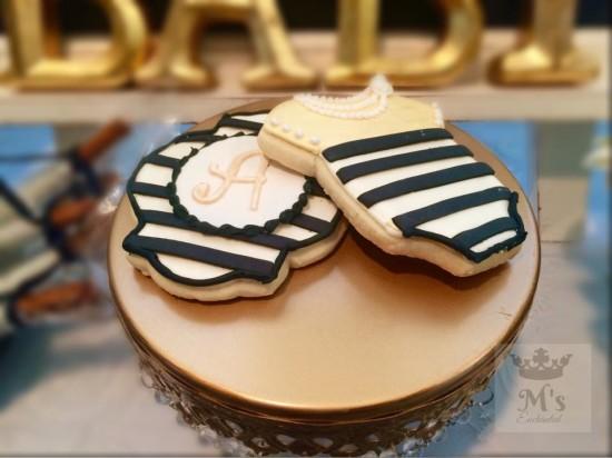 Black and White Shabby Chic Baby Shower cookies