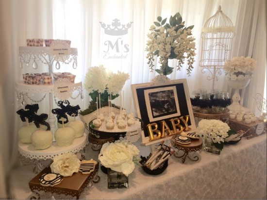 Black and White Shabby Chic Baby Shower main table