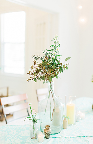 Bohemian Baby Shower centerpiece plants