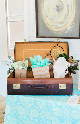 Bohemian Baby Shower decor, luggage