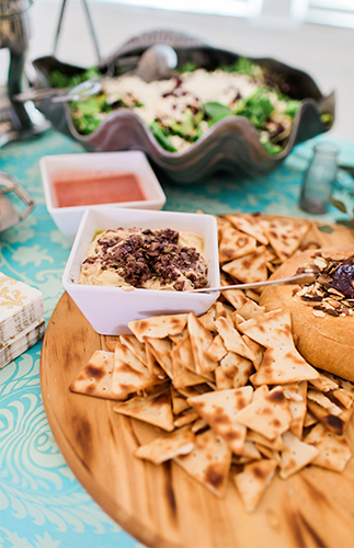 Bohemian Baby Shower food ideas, crackers and dips