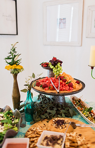 Bohemian Baby Shower food ideas, crackers, fruits