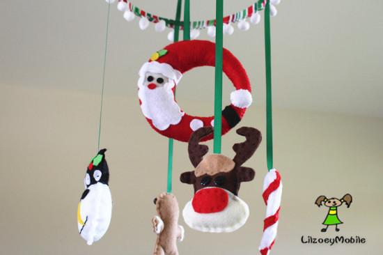 Christmas Baby Crib Mobile, Felt Mobile, Nursery Decoration