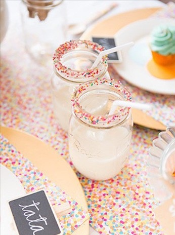 confetti and sprinkled drink glasses