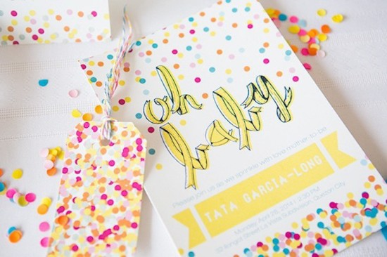 Confetti & Sprinkles Baby Shower oh baby invitation card