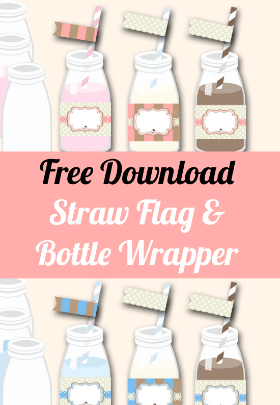 Free Straw Topper and Bottle Wrapper Templates