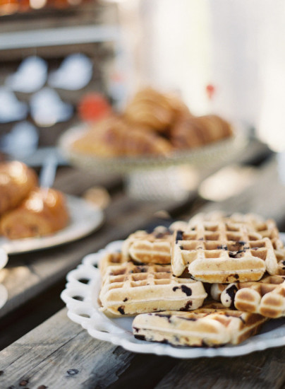 French Country Inspired Baby Shower food, waffles