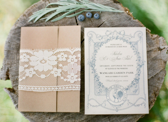 French Country Inspired Baby Shower invitation, lace, burlap style