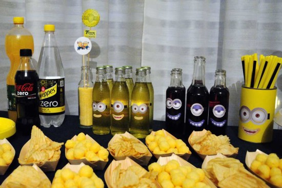 Minion Baby Girl Shower drinks and treats