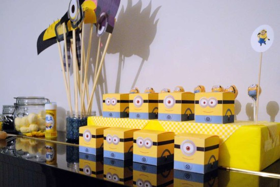 Minion Baby Girl Shower favor boxes
