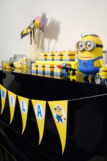 Minion Baby Girl Shower main table with banner