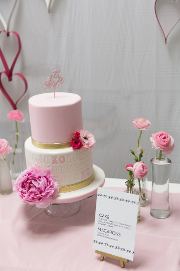 Sweet XOXO Baby Shower cake in pink florals