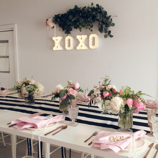 Sweet XOXO Baby Shower drinks bar table setting