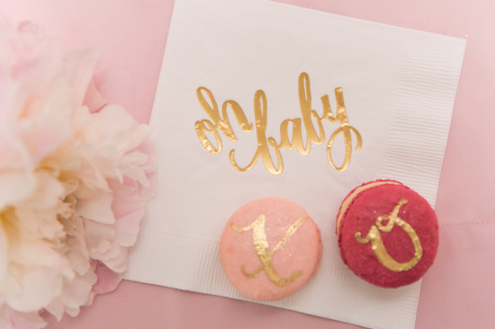 Sweet XOXO Baby Shower macarons in gold letters