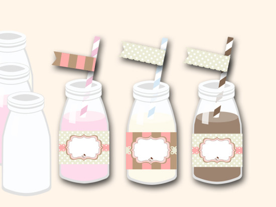 free pink baby shower bottle wrappers and matching flag toppers