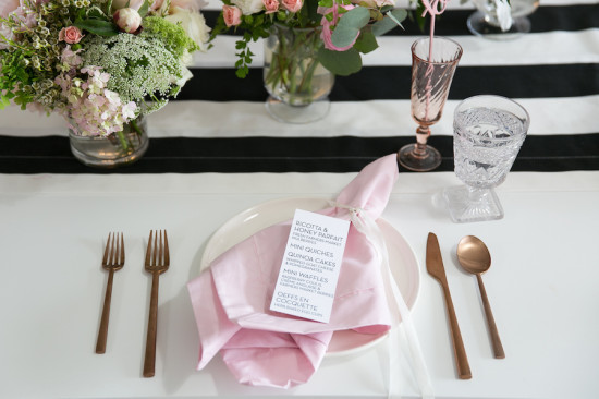 pink napkin, gold cutlery set, xoxo black and white baby shower