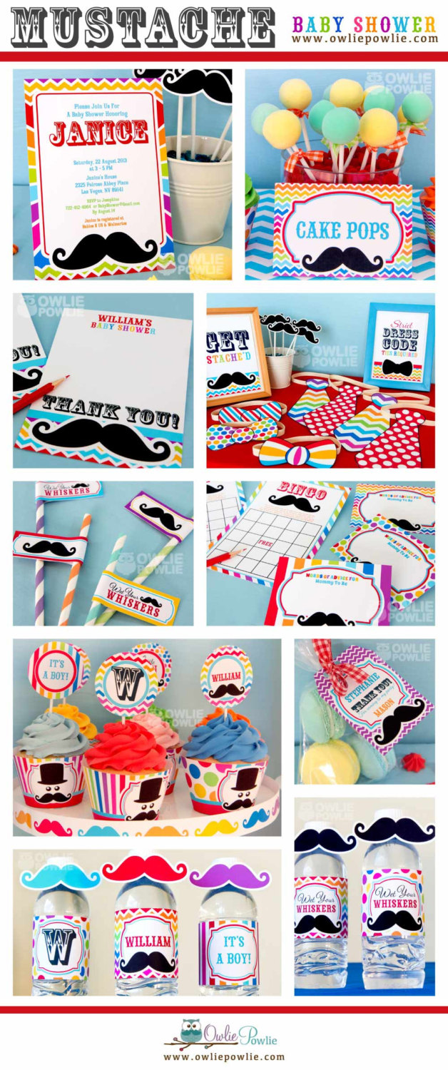 Little Man Mustache Bash BABY Shower signs and photo booth
