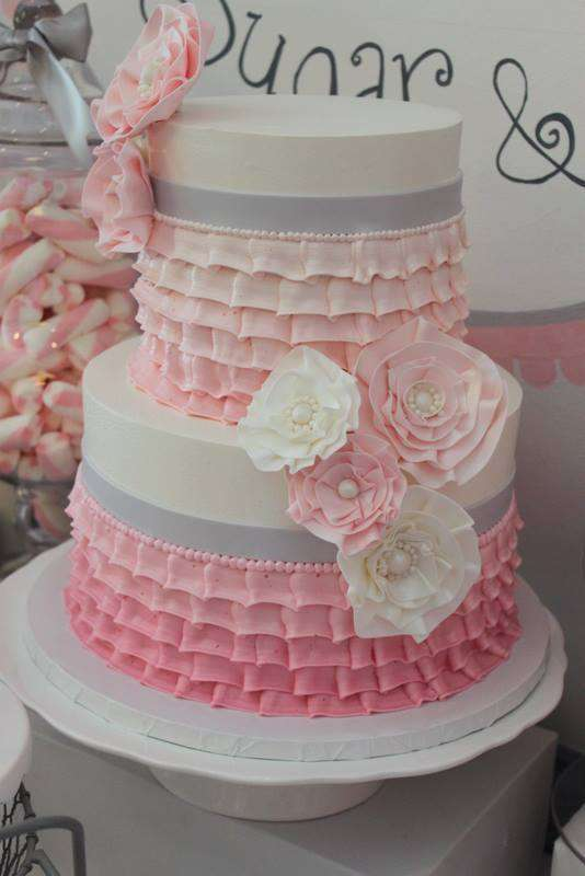 Pink Tutu Twin Baby Shower cake
