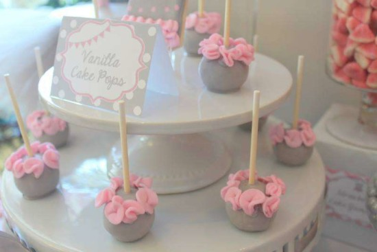 Pink Tutu Twin Baby Shower cakepops