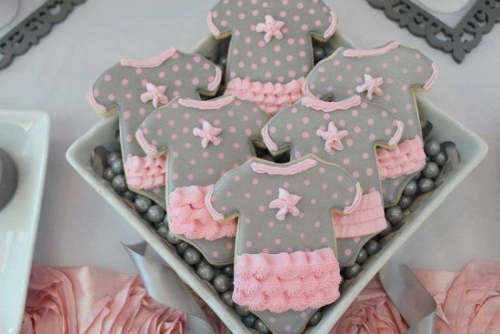 Pink Tutu Twin Baby Shower cookies