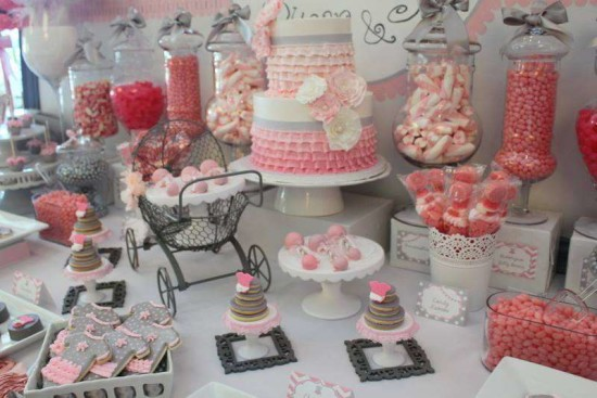 Pink Tutu Twin Baby Shower dessert table, amazing
