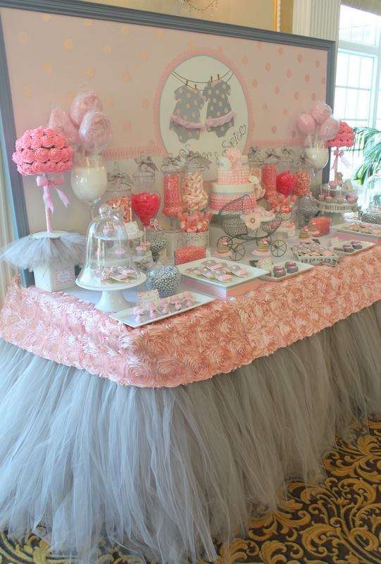 Pink Tutu Twin Baby Shower dessert table, tutu skirting