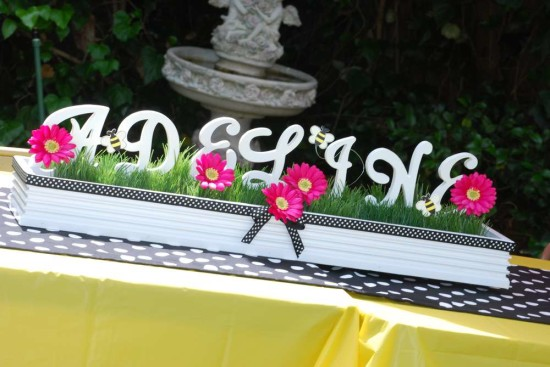 Pink and Purple Bumble Bee Baby Shower centerpieces