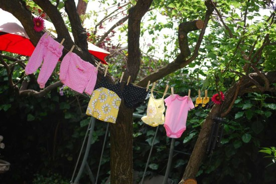 Pink and Purple Bumble Bee Baby Shower clothesline decor