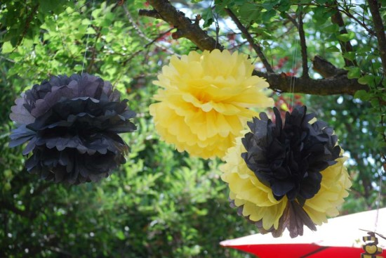 Pink and Purple Bumble Bee Baby Shower paper poms