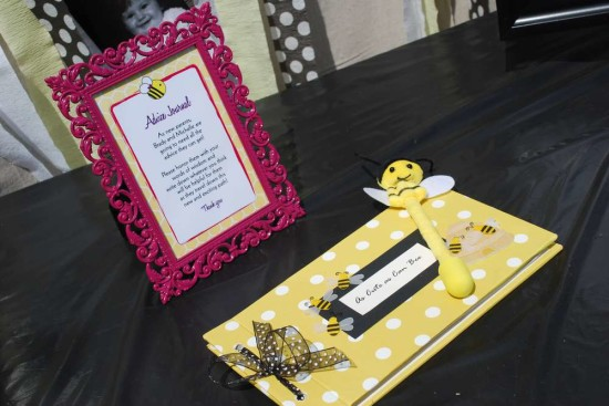 Pink and Purple Bumble Bee Baby Shower photos and notes cute as can bee