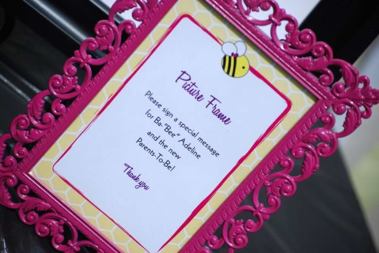 Pink and Purple Bumble Bee Baby Shower picture frame, sign