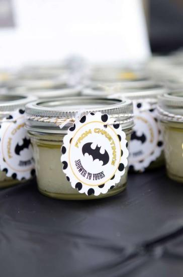 batman baby shower favor jars