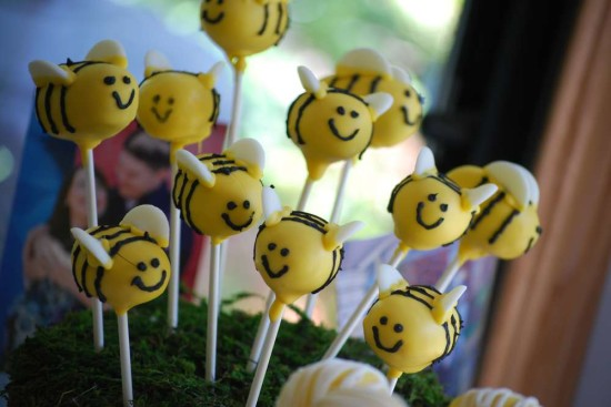 bumble bee baby shower cakepops, bee theme