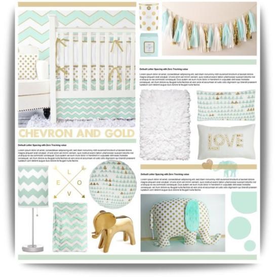 chevron, mint and gold baby nursery decoration ideas