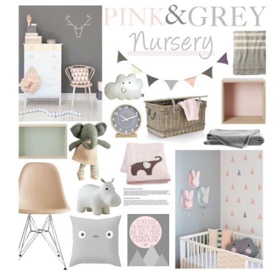 pink and grey baby nursery room ideas