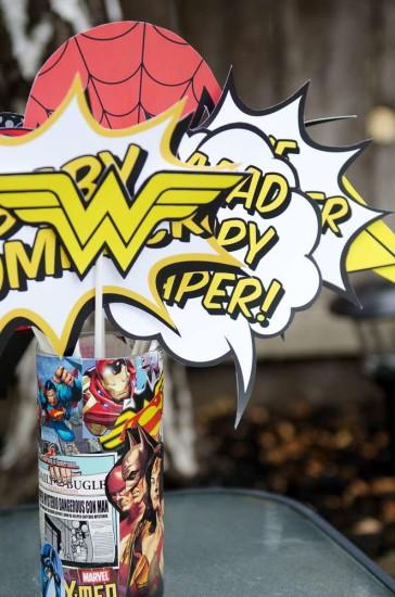superhero baby shower centerpieces