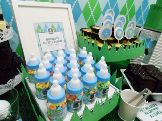 First Masters Tournament baby shower favors milk bottles