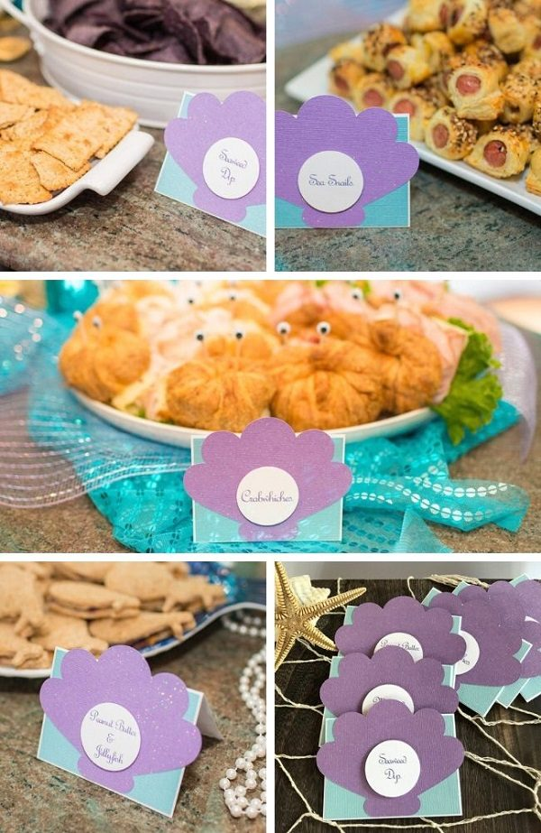 Mermaid baby shower salty food Tablescape