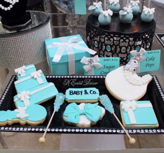 Tiffany Themed Baby Shower cookies