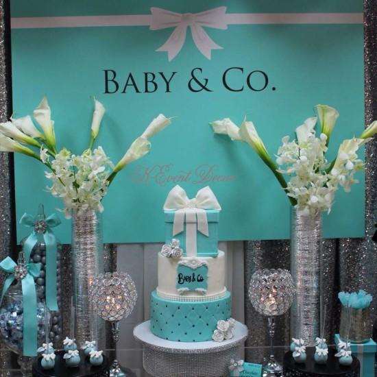 Tiffany Themed Baby Shower main table
