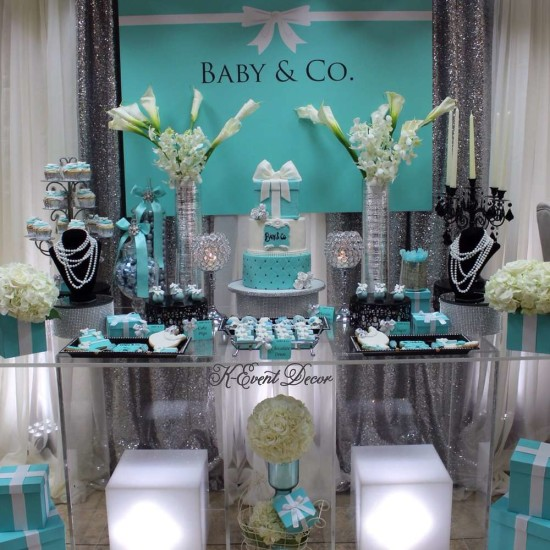 Tiffany Themed Baby Shower main table, decoration ideas, baby and co