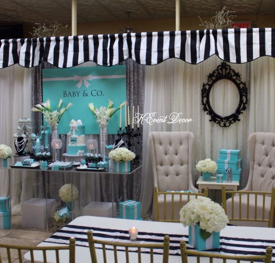 Tiffany Themed Baby Shower main table, decoration ideas, baby and co, dessert table