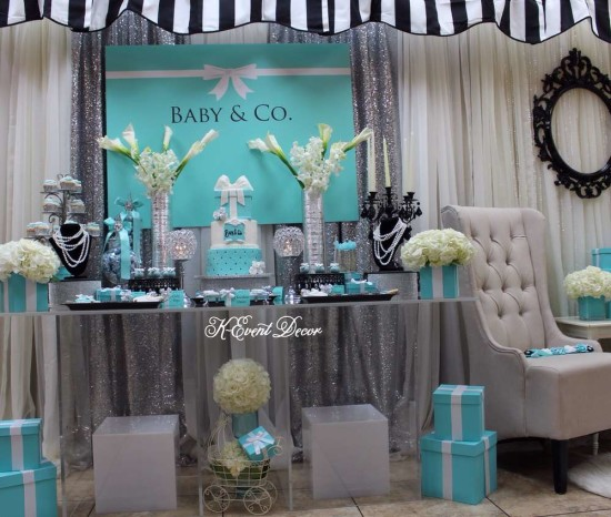 Tiffany Themed Baby Shower main table, decoration ideas, baby and co ideas
