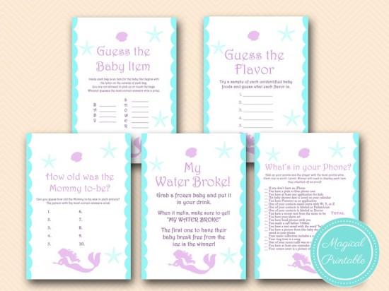 mermaid baby shower games pack